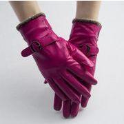 レディース革手袋 ファー手袋 毛皮手袋 防寒 裏起毛手袋 シープスキングローブ 秋冬手袋 オートバイ