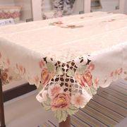 ローズ柄刺繍テーブルクロス 134X175cm