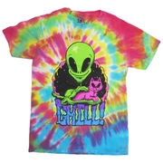 T シャツ CHILL ALIEN CAT RAINBOW TIE DYE