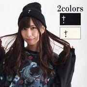 【即納】【DrugHoney】十字架刺繍入りニット帽(86-7024)1204/E-1