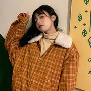 冬 新しいデザイン 韓国風 子羊ウール 襟 カーディガンジャケット ハイウエスト グリッ