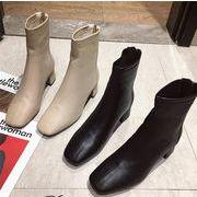 韓国 厚底 シューズ 定番 デイリールック ショートブーツ デートルック ブーティー 快適 秋冬 新作 出勤靴