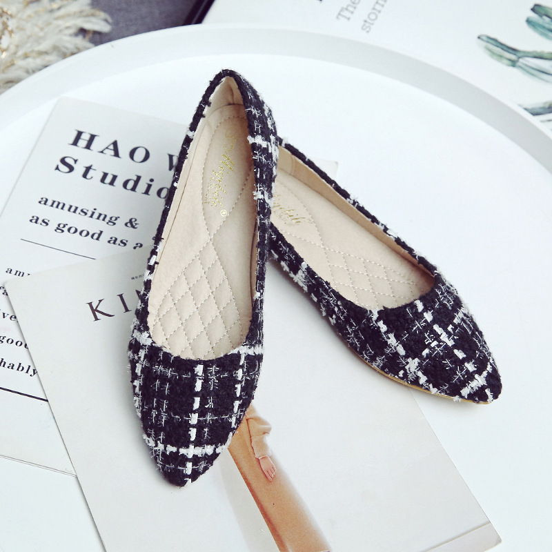 2020年春 新しいスタイル 先のとがった チェック柄の靴 プラスサイズのフラット