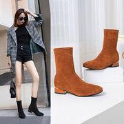 ブーツ 女 秋と冬 新しいデザイン スクエアヘッド 太いヒール チューブ ブーツ 韓国風