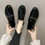 靴 女靴 春 新しいデザイン 小さな靴 女性英国スタイル レトロ黒 カラー ローファー