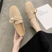 靴 女靴 春 新しいデザイン スクエアヘッド ローファー フラット パール リボン 2w