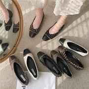 靴 女靴 春 スクエアヘッド 粗製 浅い口 ピーズ靴 グリッド 布 スリップ ローファー