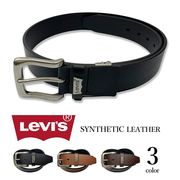 【全3色】 Levi's リーバイス ロゴプレートデザイン レザー ベルト 合成皮革 フェイクレザー