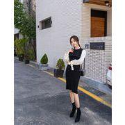着まわし抜群 気質 OL  新作 韓国 縫付 シャツスリーブ  INSスタイル 冬 ニットワンピース タイトスカート