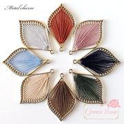 金属フレームチャーム リーフ 全8色 4個 /刺繍糸/J6-3874