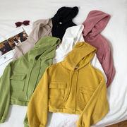 若いもの キャンディカラー 短いスタイル フード付きセーター 女 秋冬 新しいデザイン
