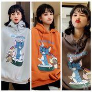 【即納662056】大きいサイズ 韓国ファッション プリント 猫 ネコ  パーカー   LL~4L