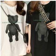 2020 夏 新作 トップス 韓国 クマ Tシャツ ロングタイプ レディースファッション