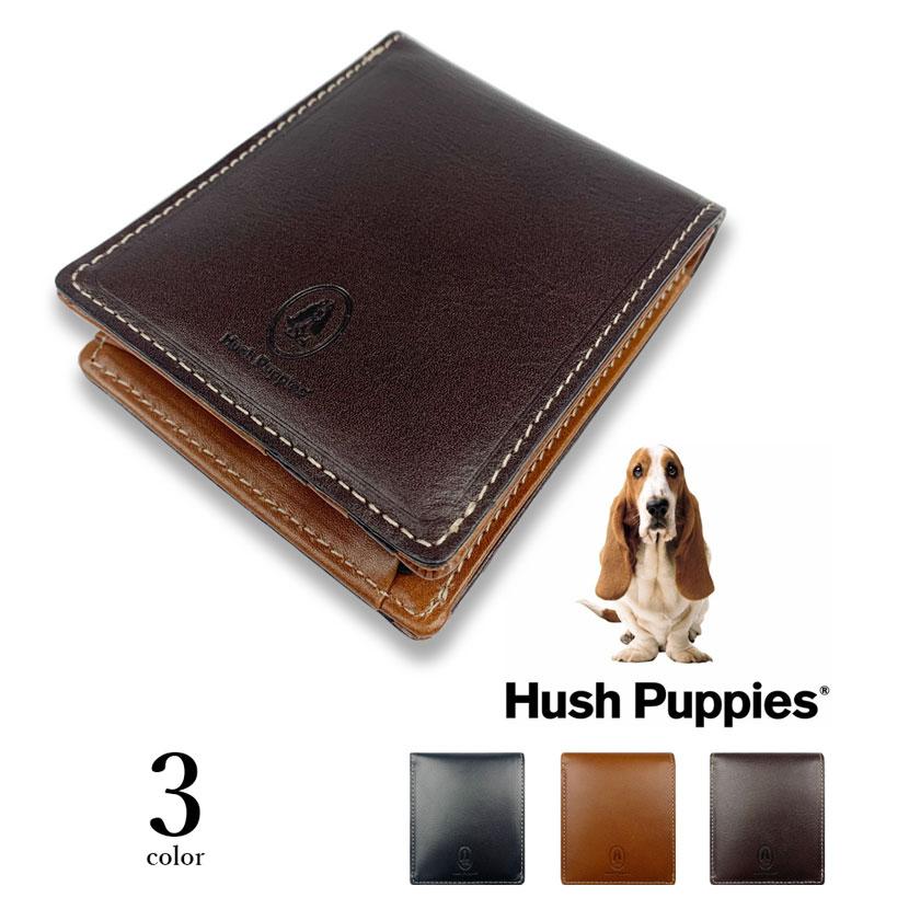 全3色 Hush Puppies ハッシュパピー リアルレザー バイカラー 二つ折り財布 ショートウォレット