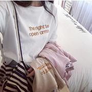 トップス Tシャツ 刺繍 夏 英文字 オシャレ レディース オーバーサイズ 韓国