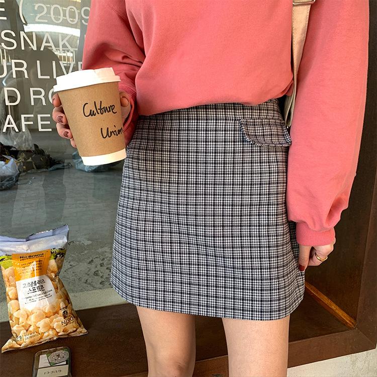2020年春物新作 韓国風チェック柄ミニスカート