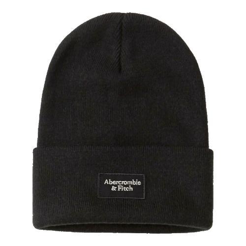 正規品 アバクロ ニット帽子 Abercrombie&Fitch Logo Patch Beanie (ブラック)