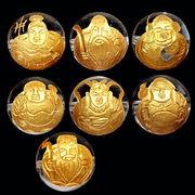 約12mm 天然水晶 金彫り 七福神 ビーズ(七種類1セット)【粒売り】【FOREST 天然石 パワーストーン】
