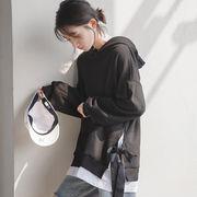 韓国 ファッション パーカー 純色 レディース