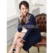 【Belsia】トリコロールパイピング袖付きキャバクラドレス 膝丈タイトミニドレス【ベルシア】*505858