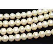 淡水真珠パール セミラウンド~ポテト型 ホワイト 8~9mm 1連(約35cm)_R1919