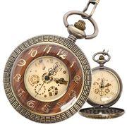 ポケットウォッチ 懐中時計 手巻き スケルトン 蓋付き シースルー  PWA008 メンズ懐中時計