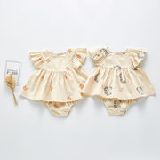赤ちゃん 上下2点セット ワンピース 女の子 無地 韓国子供服 2020新作 SALE ファッション