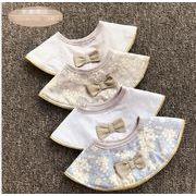 新作★360°よだれかけ★食事子供用品★赤ちゃん用の前挂け調整 ★かわいい小花柄円形造型
