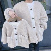 22020年新作韓国ファッション母と娘親子服女の子子羊の毛裏起毛厚手チェスターコート親子兼用