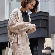 【2020春物新作♪】7G 綿アクリル 透かし編みショートカーディガン
