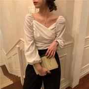 春 韓国風 アンティーク調 気質 ベルベット 折り畳む 襟 シャツ パフ 短いスタイル