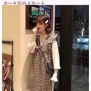 早春 新しいデザイン 韓国風 パフ シフォンシャツ 襟 フリル ノースリーブ タータンチ