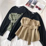 春 新しいデザイン 韓国風 ファッション カラーステッチを打ちます 包帯 ウエストマーク