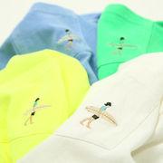 【2020春夏新作】ユニセックス ピグメント加工 刺繍 袖プリント ポケット 長袖Tシャツ