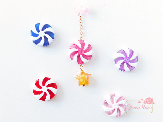 (50g)単価11.9円 組み立て式くるくるキャンディ風ビーズ ミックスセット 50g/beads804