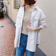 【C-13】コットン リネン オーバーサイズ シャツ ジャケット