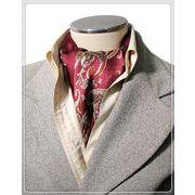 エレガントな袋縫いプリント柄入りメンズ用100%シルクスカーフ 1009b