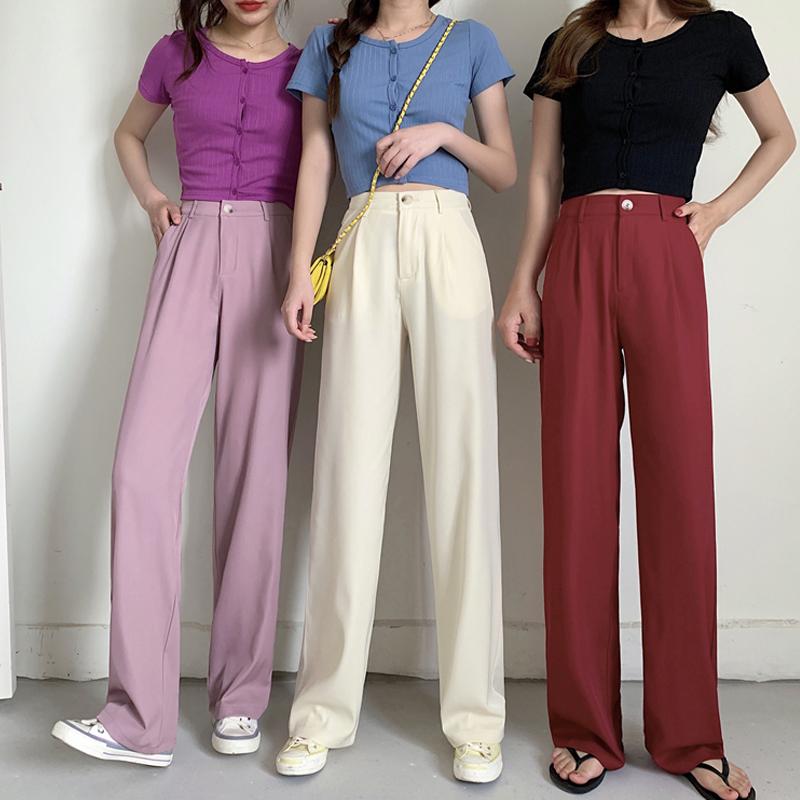 パンツ ボトムス ズボン ハイウェスト ゆったり 夏 韓国ファッション レディース