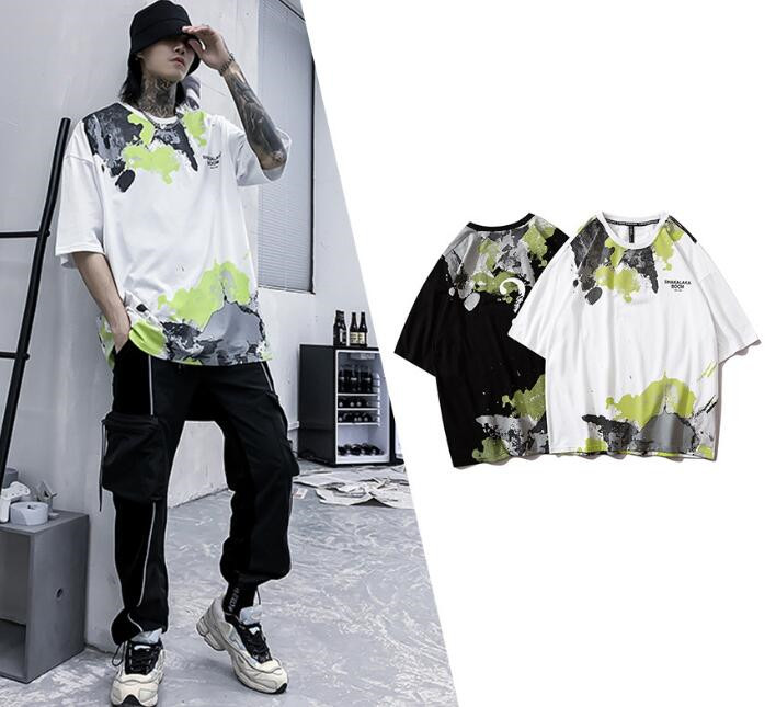 落書き風 半袖Tシャツ メンズ 100%コットン 夏カットソー