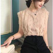 韓国ファッション 着やせ効果抜群/トレンド/新品/レース/透けて/小さい新鮮な/袖なし/ニットトップス
