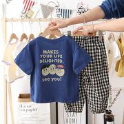 チェック ズボン 半袖 Tシャツ セットアップ 上下2点 プリント 男の子 韓国子供服