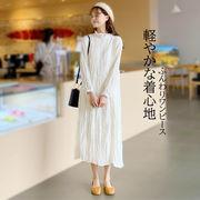レディース ワンピース チュニック カジュアル ゆったり 長袖 ドレス 体型カバー 着痩せ 韓国