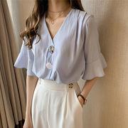 韓国ファッション Vネック シーフォン ブラウス 夏3色