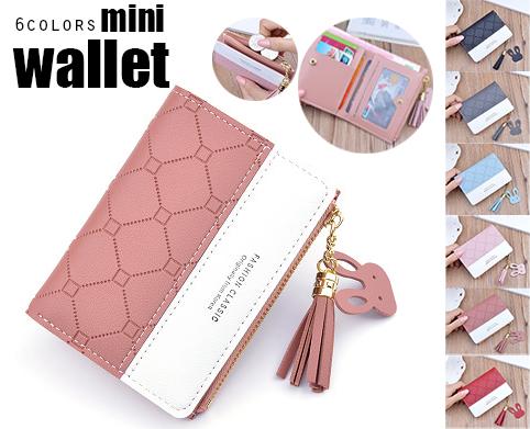2020新作 レディース 短財布 二つ折りミニ財布 PUレザー 小銭入れ 大容量 カード収納 タッセル