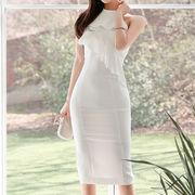 フレア ワンピース アメリカンスリーブ 白ドレス