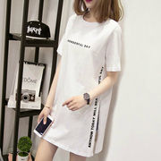 【即納】スリット入りロゴTシャツ レディース シンプル lhd-2018-13 【メール便可】2020春夏新作