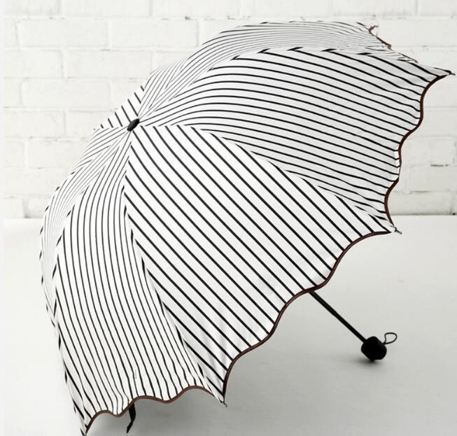 UVカット 手動開閉傘 3折傘 ストライプ おしゃれ 人気 軽量 折り畳み傘 梅雨対策 晴雨兼用