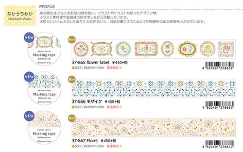 【Papier Platz】デザイナーズ マスキングテープ  なかうちわか 3種 2020_05_25発売