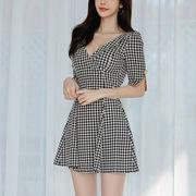 千鳥格子 ミニワンピース ショート丈ドレス 半袖