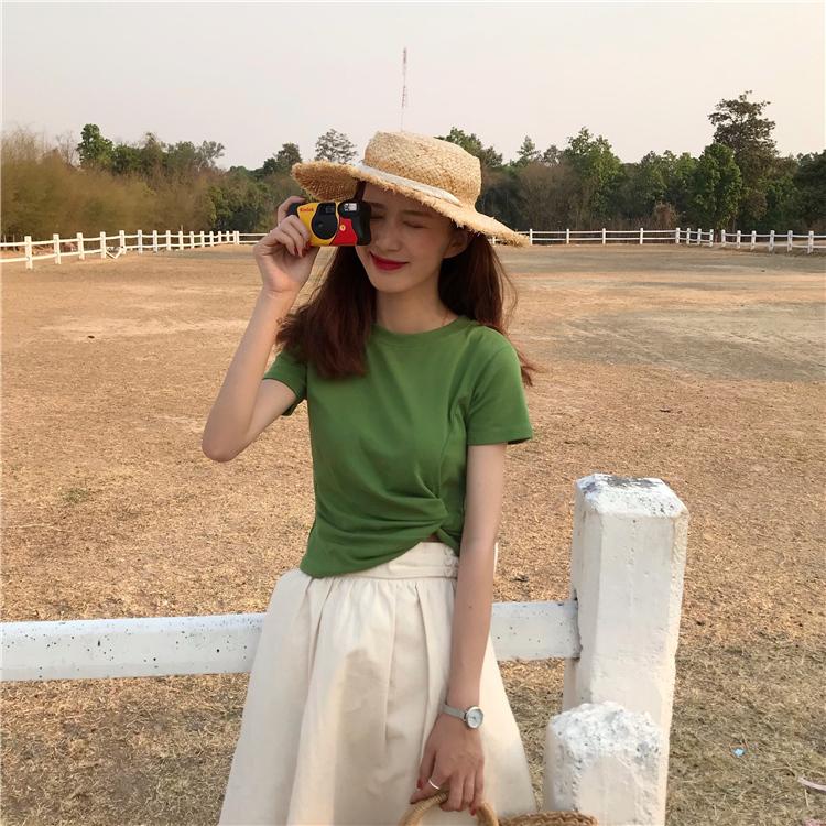 宝来商事 マカロスリム短い半袖Tシャツ アボカドグリーンシャツトップス レディースファッション